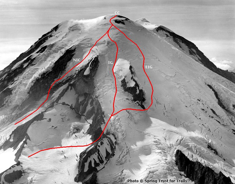mt Rainier Routes Emmons Glacier mt Rainier se Routes