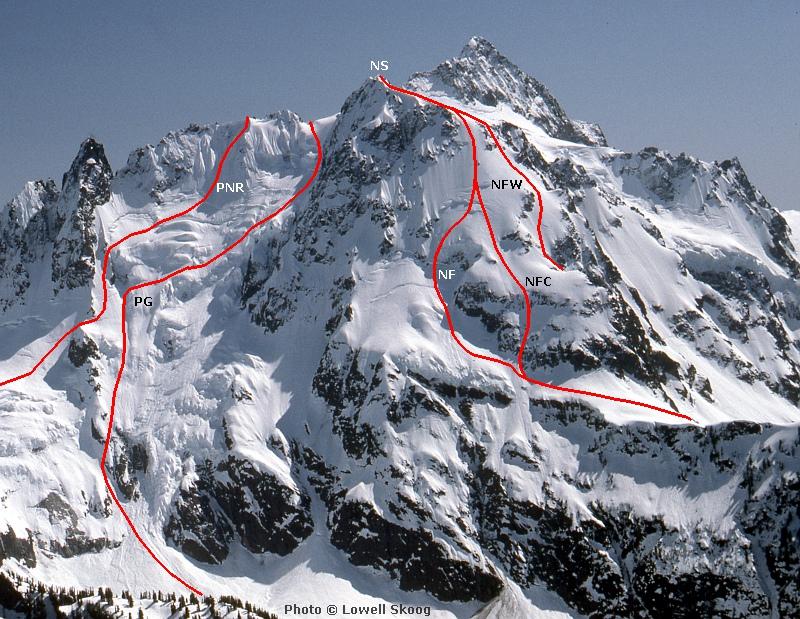 Alpenglow Ski History - Topos - Mt Shuksan Ski Routes